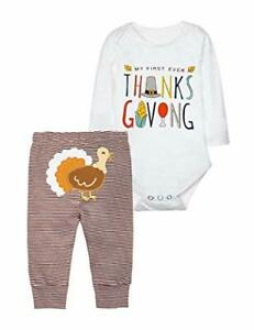 Baby Boys 1st Thanksgiving Outfit My 1st Thanksgiving Romper 0-3 Months White B