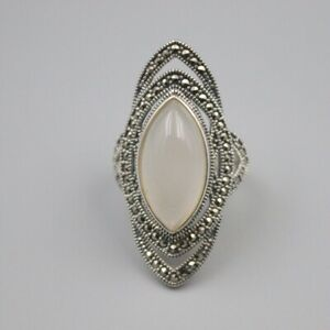 S925 Sterling Silver White Chalcedony Ring Luck Marquise Ring 39mmW US7