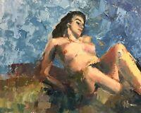 Original Vintage Jeff Barnes 16x20 Oil Painting Reclining Nude Female Figure