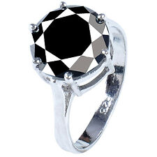 Round Solitaire.925 Silver Ring 2.77+ ct Black Moissanite