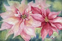 Poinsettia Original Watercolor Painting