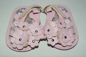 BABY GIRL PINK FLOWER DETAIL SANDALS FIRST SHOES AGE :0-6 MTHS (GS16)