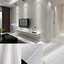 3D Bright Pure Textured White Brick Stone Wallpaper Roll Contact Paper 10x0.53m