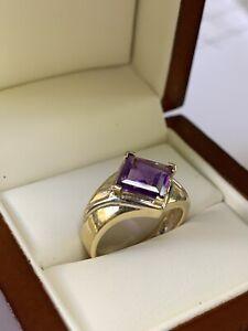 VTG Modern 14k Solid Yellow Gold Ladies Cocktail  Ring/ Amethyst  Sz 7  4Gm  NR