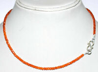 Necklace Strand 925 Sterling Silver Orange Zircon 3mm Round Faceted Beads MJ2112