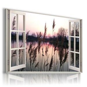SUNSET LAKE GRASS RIVER 3D Window View Canvas Wall Art  W644 UNFRAMED-ROLLED