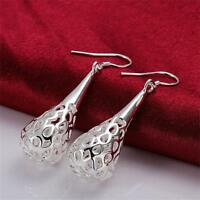 New 925 Women Hollow Hook Silver Plated Water Drop Earrings Dangle Elegant Cute