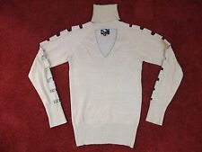 Y LONDON ~ GOLD GLITTER STRETCH TURTLE NECK JUMPER TOP WITH PEEP HOLES ~ SMALL