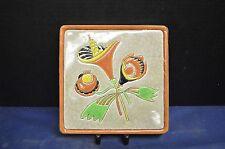 Vintage Longwy Primavera Floral Trivet - Art Deco Faience Pottery