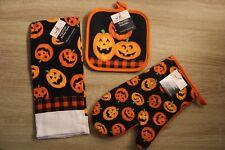 3pc Set Jack-O-Lantern Pumpkins Halloween Kitchen Towel Potholder Oven Mitt