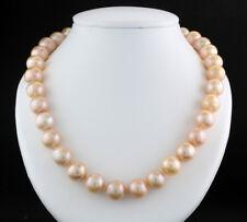 Zuchtperlen-Collier 12,5 mm  Apricot-Rosa 585-Weißgold Wert 1650 € Neu