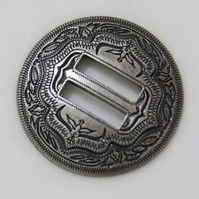 "【KBS01】1-1/4"" Slotted Concho 2-Tone Leathercraft Saddle Tack Belt Antique-Silver"
