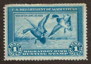 RW 1 US Fed Duck Stamp Migratory Bird Hunting License 1934. F. Used. Crease UL