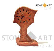 Orologio da tavolo in pietra travertino rosso lavorazione artigianale
