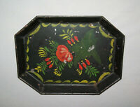 Old Antique Vtg 19th C 1830s Small Folk Art Tole Hand Painted Tin Tray Toleware