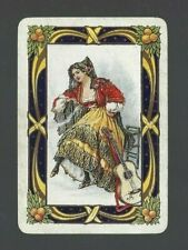 Swap Playing Cards 1 WIDE VINT ENG MUSICAL SPANISH LADY& ORANGES EW18 SMOOTH