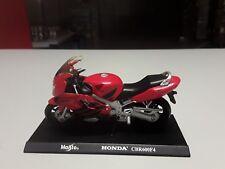 Maisto 1:18 Honda CBR600F4 in Rotschwarz Standmodell mit Grundplatte.
