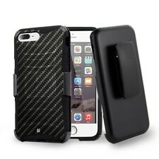For iPhone 8 Plus,7 Plus Armor Hybrid Clip Protector Rugged Case Carbon Fiber