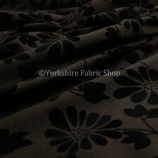 10 Metres Of Soft Raised Chenille Floral Pattern Black Brown Upholstery Fabric