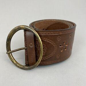 "Retro M&S Brown Leather Boho Hippie Hip Waist Wide Buckle Belt Size M 43"" Long"