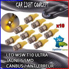 10 x ampoule 5 smd Veilleuse LED W5W T10 ULTRA JAUNE XENON 6500k voiture moto