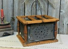 19th C Early Antique Primitive Punched Tin Foot Warmer AAFA