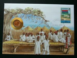 [SJ] Gambia 25th Anniversary Of Independence 1990 FDC (coin cover)