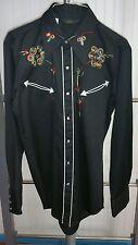 VTG Sears Western Wear Shirt Black Floral Men's Medium Cowboy Rodeo Nudie RRL