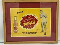 Vintage Drink Joe Louis Punch Metal Embossed Signature - Framed   * RARE *
