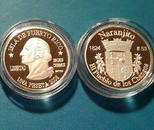 2008 Silver PESETA NARANJITO Puerto Rico Boricua Quarter 1/100 Plata RARISIMA !!