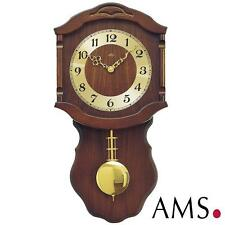 AMS Wall Clock 964/1 Quartz With Pendulum Wooden Housing Nussbaumfa Living Room