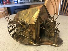"Vintage Brass Copper Metal Tin Music Box Water Mill Barn Plays ""Moon River"""