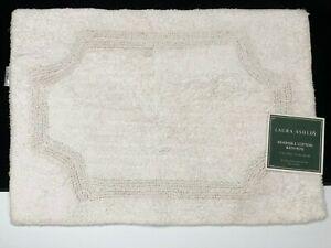 Laura Ashley WHITE REVERSIBLE Cotton Bath Rug 17 x 24 Tablet NWT