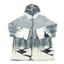 Vintage Thick Pile Fleece Coat | Retro 90s Jacket Patterned Graphic Sherpa Hood