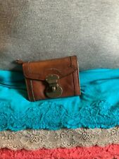 Fossil Live Long Vintage Brown Leather Organizer Flap Turn Lock Clutch Wallet