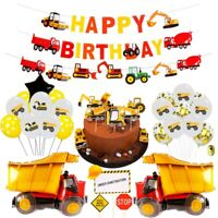 Construction Vehicle Excavator Balloons Set Foil Boys Favor Birthday Party Decor