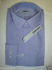 New DKNY Men's Slim Fit LS Dress Shirt Concord Purple/White Stripe L 16.5 34/35