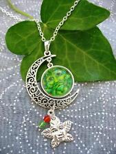 Verde Hombre Collar Pagana Wicca Luna Fantasy Colgante De Plata Celta Árbol Sagrado