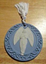 Vintage 1989 Wedgwood Blue Jasperware Angel Christmas Ornament with Hard Case