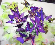12pc purple 3D Artificial wire Butterfly wedding cake topper/home decoration