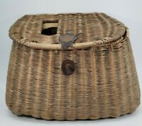 Antique Fishing Anglers Wicker Creel Basket W/Shoulder Strap