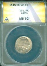 1913 TY 1 BUFFALO NICKEL ANACS MS 62 FREE S/H (2026005)