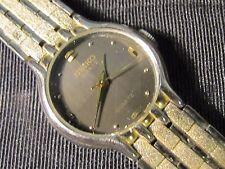 WOMEN'S SEIKO 18 KT GOLD PLATED WATCH BLACK DIAL GORGEOUS QUARTZ 26531-2259