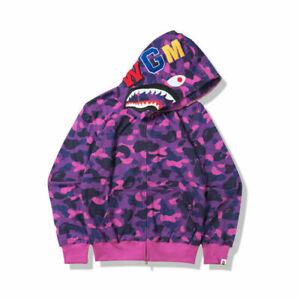 Men's A Bathing Ape BAPE Shark Jaw Camo Full Zipper Hoodie Sweats Coat Jacket