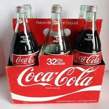 Vtg Coca Cola 6 Pk 32oz Bottles Coke Soda Pop w Case Return for Deposit 2 Full