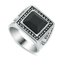 316L Stainless Steel Fashion Men Black Onyx Stone Square Finger Rings Size 8-12