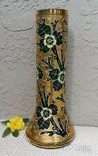 GILT OVERLAY ON VINTAGE EMERALD CZECH BOHEMIAN ART GLASS SUPER LARGE FLOWER VASE