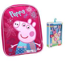 Peppa Pig Pink Patchwork Mochila Niñas Set + Collar de joyería