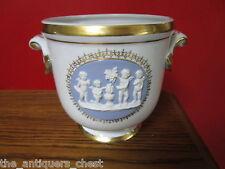 VISTA ALEGRE Portugal cache pot/ urn wedgwood style medallion, white & gold [B]