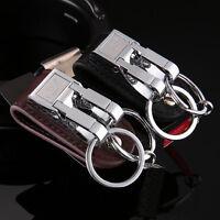 Steel Genuine Leather Detachable Key Chain 2 Loops Key Ring Holder Keychain